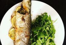 Roasted whole Branzino