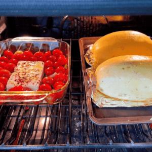baked tomato and feta with spaghetti squash